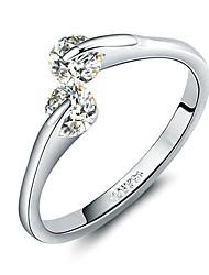 preiswerte -Damen Kubikzirkonia vergoldet - Einfach Silber Ring Für Hochzeit Verlobung
