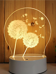 cheap -1 Set Of 3D Mood Night Light Hand Feeling Dimmable USB Powered Gift Lamp Dandelion