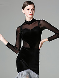 cheap -Latin Dance Dresses Women's Performance Tulle Velvet Chiffon Tassel Long Sleeves Dress