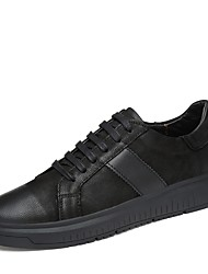 Herren Schuhe Echtes Leder Leder Alle Jahreszeiten Komfort Sneakers Spitze Für Normal Schwarz