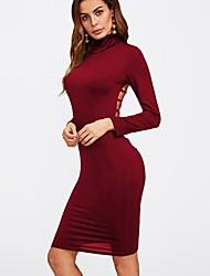 preiswerte -Damen Hülle Kleid - Rückenfrei, Solide Rollkragen