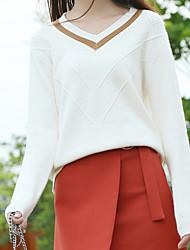 cheap -Women's Daily Short Pullover,Solid V Neck Long Sleeves Cotton Fall Medium Micro-elastic