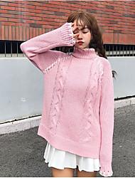 Lungo Pullover Da donna-Casual Semplice Tinta unita Dolcevita Manica lunga Cotone Primavera/Autunno Medio spessore Media elasticità
