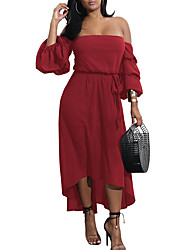 Women's Going out Casual/Daily Simple Sexy Sheath DressSolid Off Shoulder Full-Length Long Sleeves Polyester Summer Fall Mid Rise