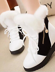 cheap -Women's Shoes Leatherette Winter Snow Boots Boots Booties/Ankle Boots For Casual Black White