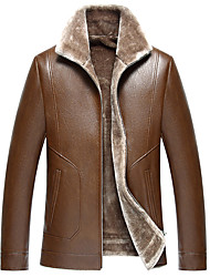 cheap -Men's Basic Leather Jacket - Solid Colored Shirt Collar / Long Sleeve