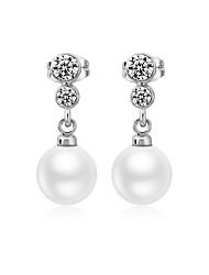 abordables -Mujer Pendientes cortos Pendientes colgantes Zirconia Cúbica Perla artificial Elegant Hipoalergénico Moda Encantador Dulce Cobre Plateado