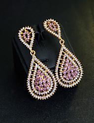 Mujer Pendientes colgantes Zirconia Cúbica Cristal Clásico Elegant Chapado en Oro Diamante Sintético Gota Joyas Para Boda Fiesta de Noche