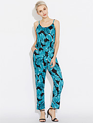 cheap -Women's Beach Going out Holiday Boho Jumpsuit - Vintage Leaf, Classic Print Holiday High Rise Strap