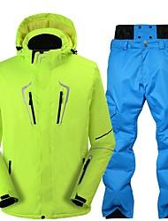 abordables -Hombre Chaqueta y pantalones de Esquí Templado, Impermeable, Resistente al Viento Esquí / Snowboard Ecológico Poliéster Pantalones de
