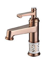cheap -Antique Luxury Centerset High Quality Ceramic Valve Single Handle One Hole Rose Gold, Bathroom Sink Faucet