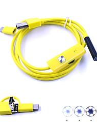 economico -Lente 7mm 3 in 1 usb endoscopio videocamera borescope ip67 impermeabile camma di serpente 1m hardwire per pc android