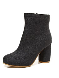 cheap -Women's Shoes Leatherette Winter Fashion Boots Boots Chunky Heel Round Toe Booties/Ankle Boots for Casual Dress Black Silver Light Purple