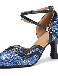 baratos -Sapatos de Dança Moderna Paetês / Couro Sintético Sandália / Salto Laços Salto Personalizado Personalizável Sapatos de Dança Black / azul