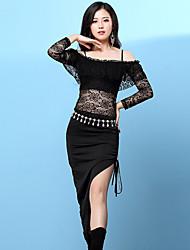 Dança do Ventre Vestidos Mulheres Treino Elastano Renda Faixa Manga Comprida Alto Vestidos
