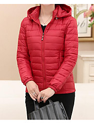 cheap -Women's Casual White Duck Down Padded - Solid Colored Hooded