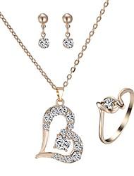 preiswerte -Damen Strass Diamantimitate Herz Schmuck-Set 1 Halskette / 1 Ring / Ohrringe - Klassisch / Modisch Gold Tropfen-Ohrringe / Halskette Für