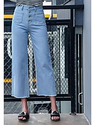 cheap -Women's Inelastic Wide Leg Jeans Pants Solid