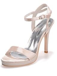 preiswerte -Damen Schuhe Satin Frühling Sommer Pumps Sandalen Null Stöckelabsatz Offene Spitze Null Schnalle für Kleid Party & Festivität Weiß Blau