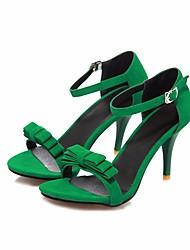 Feminino Sapatos Couro Ecológico Verão Conforto Sandálias Salto Agulha Ponta Redonda para Casual Preto Roxo Verde