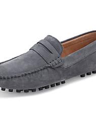 preiswerte -Herrn Schuhe Leder Nubukleder Frühling Herbst Komfort Loafers & Slip-Ons für Normal Schwarz Grau Gelb Rot Blau