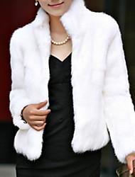 baratos -Feminino Casaco Diário Para Noite Fofo Moda de Rua Sofisticado Inverno Outono,Sólido Padrão Pêlo Sintético Pele Artificial Colarinho