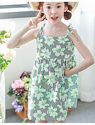 abordables -Robe Fille de Vacances Rayé Fleur Polyester Eté Sans Manches simple Vert