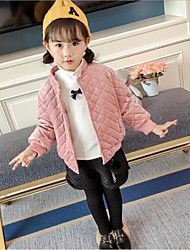 cheap -Girls' Daily Solid Letter & Number Jacket & Coat, Cotton Polyester Long Sleeves Casual Blushing Pink