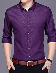 Masculino Camisa Social Casual Activo Sólido Algodão Colarinho de Camisa Manga Comprida