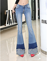cheap -Women's Vintage Jeans Pants - Solid High Rise