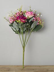 abordables -1 Rama Poliéster Rosas Flor de Mesa Flores Artificiales