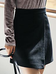preiswerte -Damen Freizeit Alltag Mini Röcke A-Linie,Baumwolle Solide Winter Herbst