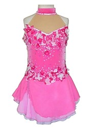 cheap -Figure Skating Dress Women's / Girls' Ice Skating Dress Pink Spandex, Lace Inelastic Performance / Practise Skating Wear Solid Colored