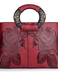 Недорогие -Жен. Мешки Полиуретан Сумка Молнии для Повседневные Все сезоны Красный Темно-зеленый Коричневый