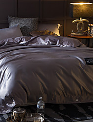 cheap -Solid 4 Piece Silk Cotton Hand-made Silk Cotton 1pc Duvet Cover 2pcs Shams 1pc Flat Sheet