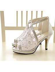 cheap -Women's Shoes Net Summer Comfort Heels Stiletto Heel Peep Toe for Casual Gold Black Silver