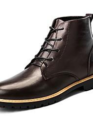 Недорогие -Муж. обувь Кожа Наппа Leather Зима Осень Модная обувь Удобная обувь Ботинки Сапоги до середины икры для Повседневные Черный Коричневый
