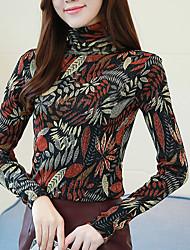 economico -T-shirt Per donna Fantasia floreale A collo alto - Cotone Poliestere