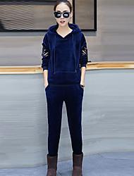 レディース お出かけ カジュアル/普段着 春 秋 パーカー パンツ スーツ,キュート 活発的 フード付き プリント ポリエステル 長袖
