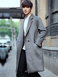cheap -Men's Casual / Street chic Long Wool / Polyester Coat - Solid Colored Shirt Collar / Long Sleeve