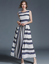 cheap -Women's Street chic Loose Dress - Striped High Rise Maxi