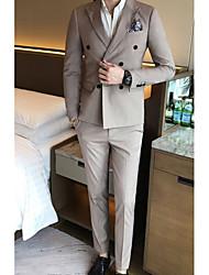Masculino Ternos/Conjuntos Wear to work Trabalho Simples Primavera Outono,Sólido Padrão Algodão Poliéster Lapela Pontuda Manga Longa