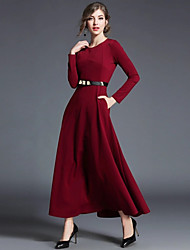 cheap -Women's Daily Vintage Swing Dress,Solid Round Neck Maxi Long Sleeve Polyester Winter Fall Mid Rise Micro-elastic Thick