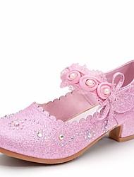 abordables -Chica Zapatos PU Primavera Otoño Talones diminutas para los adolescentes Tacones Pedrería para Casual Plata Rosa