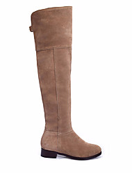 cheap -Women's Shoes Cowhide Winter Fall Comfort Boots Low Heel Round Toe Thigh-high Boots for Casual Black Khaki