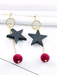 Недорогие -Жен. Серьги-слезки Крупногабаритные Мода деревянный Сплав Звезда Бижутерия Для вечеринок Повседневные Бижутерия