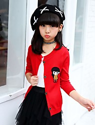 cheap -Girls' Solid Sweater & Cardigan, Cotton Fall All Seasons Long Sleeves Cute Black Red Fuchsia