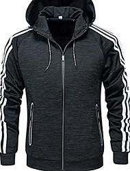 cheap -Men's Simple Cotton Jacket-Striped,Oversized Print Hooded