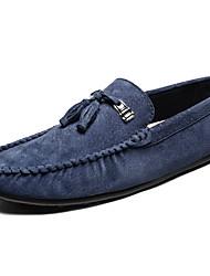 Недорогие -Муж. обувь Свиная кожа Весна Осень Удобная обувь Мокасины и Свитер для Повседневные Офис и карьера Серый Коричневый Зеленый Синий Хаки