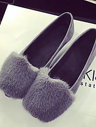 abordables -Femme Chaussures Laine synthétique Cuir Nubuck Printemps Automne Pom pom Confort Ballerines Talon Plat pour Noir Gris Jaune Vert